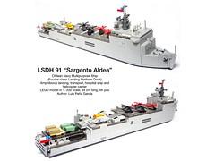 """LSDH 91 """"Sargento Aldea"""" LEGO Model (LuisPG2015) Tags: legoshipmodel landingplatformdock helicoptercarrier luispeña sargentoaldea lsdh91 foudreclass lego"""