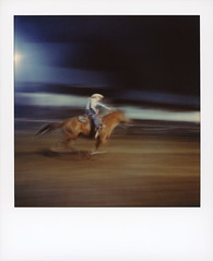 Barrel Racing 2 (tobysx70) Tags: polaroid originals color 600 instant film slr680 barrel racing high country stampede rodeo county road 73 fraser colorado co cowgirl horse rider galloping motion blur floodlights night nocturnal polaradoone polarado 072118 toby hancock photography