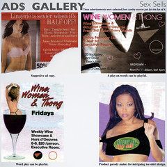 ads_03 (fillzees) Tags: ad advert advertisement copy sexy gallery archived newspaper tabloid clippings quote pun woman lingerie suggestive words text typography eclectic thong stemware teeshirt entertainment diversion half wine exotic