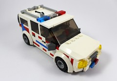 Support - Ambulance Victoria (Lonnie.96) Tags: lego brick moc custom build own creation december 2018 truck car wheel ambulance victoria cfa country fire authority ford territory emergency support aerial pumper up arm paramedic siren light brickvention 2019 white red blue black grey gray yellow window response trauma