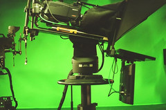 KOMU 8 in Columbia, Missouri (I have a cool job) (plasticpeaches) Tags: 35mm film filmisnotdead filmisalive filmphotography green screen chroma tv television columbia missouri mo komu 8 nbc canonae1program studio behind scenes grain cool vintage retro canon
