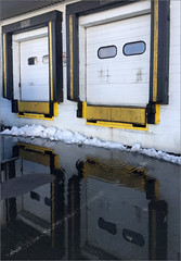 Thaw (Chris Protopapas) Tags: iphone carlstadt thaw snow drip door dock freight newjersey industrial