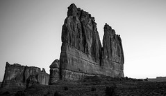 Tower of Babel (KC Mike Day) Tags: rock formation park utah arches babel tower towers courthouse desert monochrome white black moab hiking sand