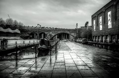 Manchester (Missy Jussy) Tags: manchester castlefield urban architecture city citylife northwest england greatbritian sky bridge people buildings boat trees pavement footpath shadows light wet canal water reflections waterways arch barge museum canon5dmarkll canon5d canoneos5dmarkii 24mm ef24mmf28 mono monochrome blackwhite bw blackandwhite