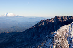 The moon, Mount St. Helens and Mt. Adams (pdx.rollingthunder) Tags: fl flight aviation pacificnw pacificnorthwest mountsthelens mtsthelens volcano aerialphotography aerial