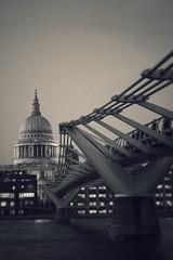 Crossing to St. Paul (marc.barrot) Tags: englishbaroque bw monochrome riverthames bridge church uk ec4 london bankside milleniumbridge stpaulcathedral