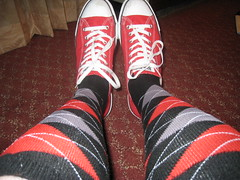 Converse and Knee Highs (devistating) Tags: men man feet foot converse knee high socks red white stripe black gray