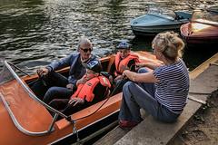 Training moment (Melissa Maples) Tags: berlin deutschland germany europe apple iphone iphonex cameraphone park treptower spree river water orange paddleboat boat kids twins frank boys man woman