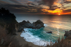 The sun does not shine for a few trees and flowers, but for the wide world's joy… (ferpectshotz) Tags: mcwayfalls bigsur pacificcoasthighway pacificcoast sunset water cove waves surf beach waterfall juliapfeifferburnsstatepark westcoast outdoor landscape vivid creek