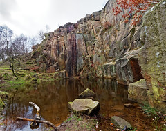 Bole hill quarry. (S.K.1963) Tags: derbyshire peak district bole hill quarry pond rocks trees reflection olympus omd em1 mkii 714mm 28 pro