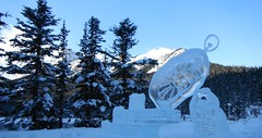 Lake Louise Alberta Canada (Mr. Happy Face - Peace :)) Tags: ice snow lakelouise art2019 banff albertabound canada fairmount hotel chateau outdoors mountains clock sculptures time