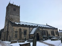 St Mary's church, in the winter (gowersaint) Tags: serenity peace history religion christian ancient weather rural town village light afternoon cumbria roof clock christianity winter tower graveyard graves norman medieval church snow