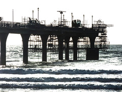 The Scaffolding Silhouette (Steve Taylor (Photography)) Tags: pier architecture contrast monocolour monocolor metal concrete newzealand nz southisland canterbury christchurch newbrighton ocean pacific sea waves silhouette autumn
