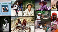 Hommes et femmes d'Asie (Thierry LARERE) Tags: photomontage scènedevie homme femme asie portrait foulard chapeau