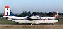 G-BEPS Short SC.5 Belfast C.1 of HeavyLift Cargo Airlines @ STN 1991 (kitmasterbloke) Tags: short sc5 belfast theseus gbeps xr368 heavylift cargo turboprop rollsroycetyne londonstansted stn essex 1991 uk aircraft aviation civil airliner