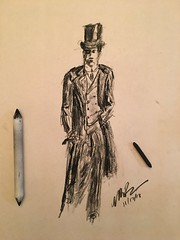For times long that never were. #charcoal (Mark Bonica) Tags: oldfashioned man toohat drawing sketch charcoal
