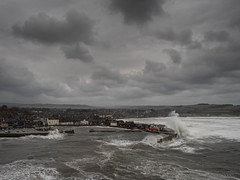 Stonehaven harbour (burnsmeisterj) Tags: olympus omd em1 stonehaven harbour weather boats sea waves clouds