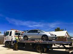 Off she goes for an engine transplant (andrew edgar .......) Tags: subaru impreza wrx silver turbo awdcar sydney blacktown
