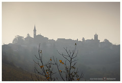 In a quiet morning (GP Camera) Tags: nikond80 nikonafsdx18105mmf3556gedvr view veduta mist foschia tree albero branches rami leaves foglie village villaggio paese silhouettes sky cielo morning mattino backlight controluce morninglight lucedelmattino shadows ombre contrasts contrasti autumn autunno shades sfumature focus messaafuoco depthoffield profonditàdicampo quiet quiete silence silenzio vignetting whiteframe cornicebianca italy italia piemonte monferrato darktable gimp opensource freesoftware softwarelibero digitalprocessing elaborazionedigitale
