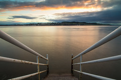 Ferry over to Fife (Marion McM) Tags: river rivertay water steps handrails sunset hills town lighthouse clouds sky landscape dundee broughtyferry angus tayport fife scotland 2018 canoneos760d longexposure blur
