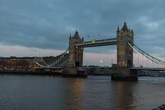 Moon Rising Behind Tower Bridge (pboolkah) Tags: london england unitedkingdom gb soe canon canon5d river bridge moon night city landmark toruist travel canon5dmkiv