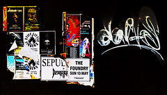 Still Little Posters (Steve Taylor (Photography)) Tags: sepultura deathangel thefoundry christchurch stifflittlefingers wilson bolzer venominc bloodstainedearthtour davis graffiti poster tag black contrast blue stark yellow white red paper newzealand nz southisland canterbury city
