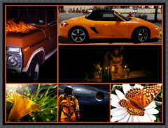 Orange obsession (MoparMadman63) Tags: orange collage framed illusion creative flame truck car vehicle nature outdoors people flowers night dark wedding