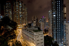 Hillside (EricMakPhotography) Tags: hongkong light trails night skyscraper building road