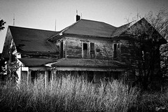 Still Standing (J K German) Tags: blackandwhite old house rural decay abandoned structure oklahoma wooden trees grass