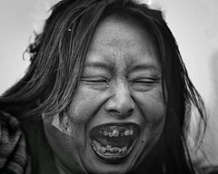 """Oni wa soto! Fuku wa uchi!"" (gro57074@bigpond.net.au) Tags: oniwasotofukuwauchi spring evilspirit teeth f14 105mmf14 artseries sigma d850 nikon monotone monochrome mono blackwhite bw springfestival frightening street portrait guyclift setsubun shimokitazawa face woman japan"