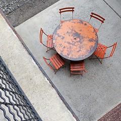 boxed set (Jim_ATL) Tags: round orange table chairs aerial pov urban geometry atlanta