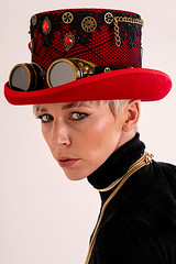 Steampunk Amie (fstop186) Tags: steampunk hat red girl beautiful goggles eyes portrait sensual classic feminine sultry