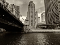 Together (ancientlives) Tags: chicago chicagoriver illinois il usa travel trips michiganavenue bridge tribunetower magnificentmile walking streetphotography weather cold clouds buildings towers skyline skyscrapers city cityscape architecture downtown sepia monochrome mono november wednesday 2018 autumn