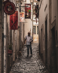Lisbon   |   Dog Walker (JB_1984) Tags: man person dogwalker dog pet street lane alley streetphotography urban alfama lisbon lisboa portugal nikon d500 nikond500