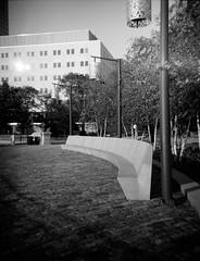 Seating Area at Scioto Mile Park - Columbus, OH (ryanungeronline) Tags: 120film 2018 columbusohio fppdebonair ilfordfp4plus sciotomile bw bwnegative filmphotography toycamera video
