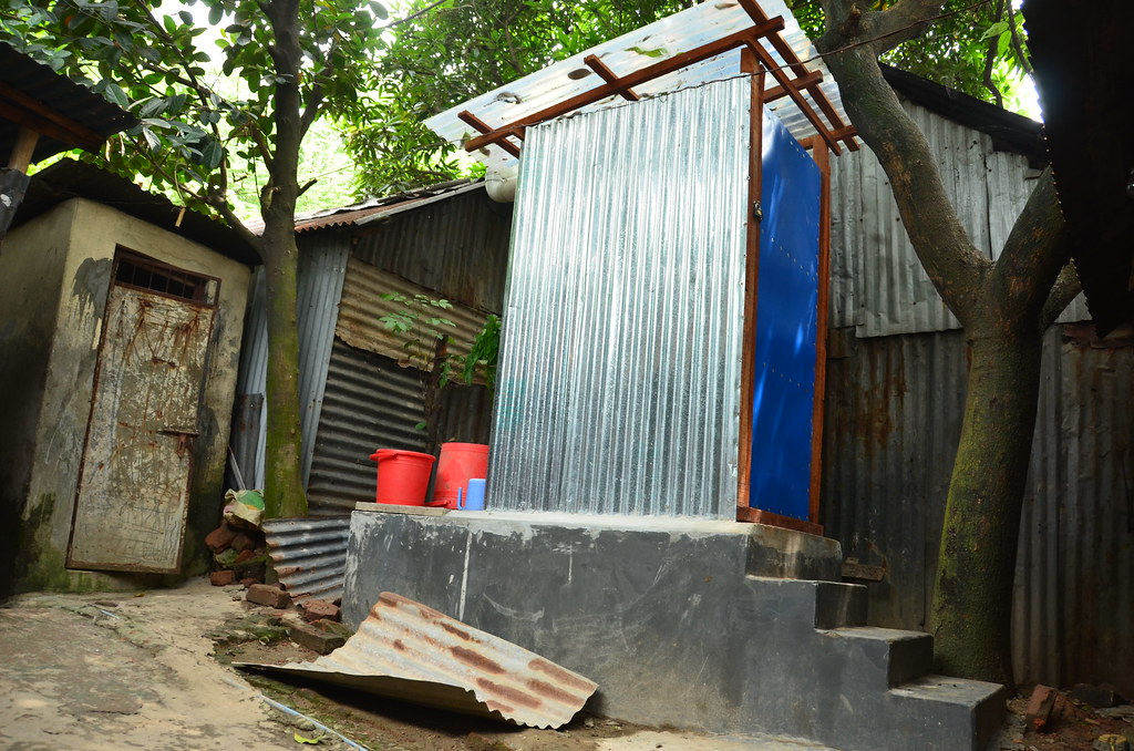 Individual improved latrine accessible to up to 12 people (Bhashantek slum, Dhaka)