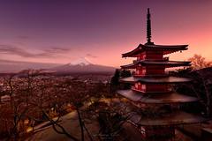 Churieto Pagoda (harrysio) Tags: travel japan tokyo sunset mountain mtfuji landscape tourist