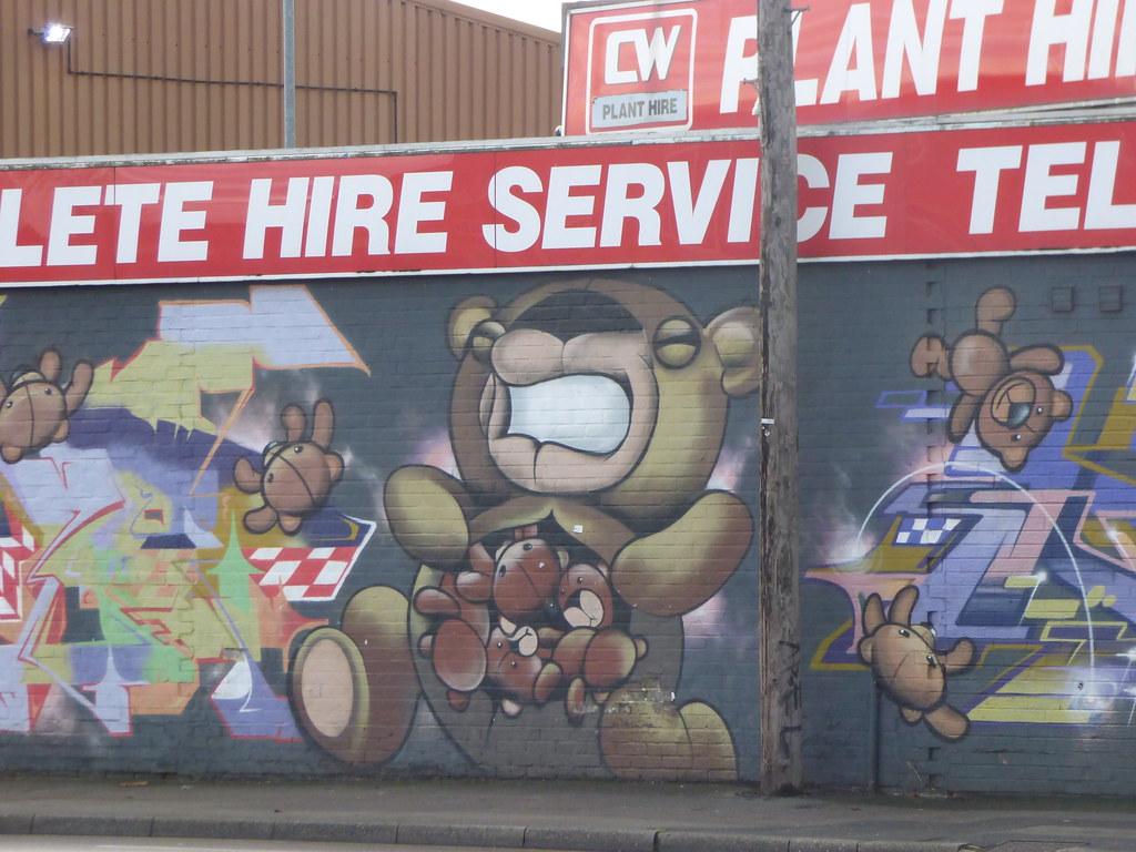 Teddy bear graffiti street art bromford lane bromford teddy bear chestburster ell