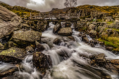 Water coming off Cwm Idwal, Ogwen Valley (gopper) Tags: scenery scenic wales welsh cymru gwynedd nikon d500 ogwen valley cwm idwal cwmidwal rain water waterfall flood river stream ngc 1020mm uk british landscape snowdon snowdonia awesome amazing flickr november 2018 autumn rock rocks clods cloudy dreary dismal windy love majestic winter