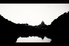 Rome. (papaianniluca1) Tags: roma rome church sanpietro tevere river fiume old vintage noir blackandwhite biancoenero bnw creepy freak highcontrast primelens sony nikkor bokeh tourist life shadows lights light monochrome landscape nature mirror shade