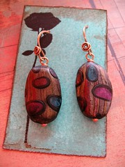 artisan hollow polymer clay and recycled antiqued sculpted brass earrings 1 (msficklemedia) Tags: handforged artisanjewelry handcrafted earrings recycledmetal stone beads sterling silver missficklemedia