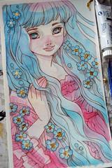 Pastels (The Girl with the Flaxen Hair) Tags: natidraws etsy etsysale etsyshop etsyartists artforsale watercolor painting pastels cutekawaii mangaart anime bluehair