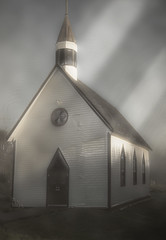 Fort Langley Aboriginal Church (non stop creations- Sherry Landon) Tags: church fort langley aboriginal effects layers ps beams fog mist sherry landon non stop creations
