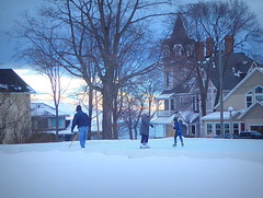 Neighborhood ice rink (yooperann) Tags: sunset homemade ice skating hockey rink victorian house marquette upper peninsula michigan arch street dusk twilight
