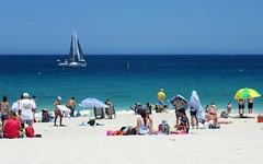Blue Sails off Mullaloo Beach, Perth, Western Australia (zorro1945) Tags: bluesails blue sailingboat boat beach ocean indianocean mullaloo perth westernaustralia oz australia wa
