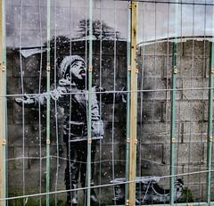 Banksy behind bars - Port Talbot. (darrenbye@yahoo.co.uk) Tags: banksy artwork bars industry pollution