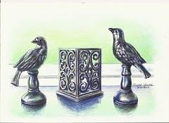 January_2019_Art _Challenge No 1901_Black Birds_ (pieterventer345) Tags: water colour pencil prime art paper beginner