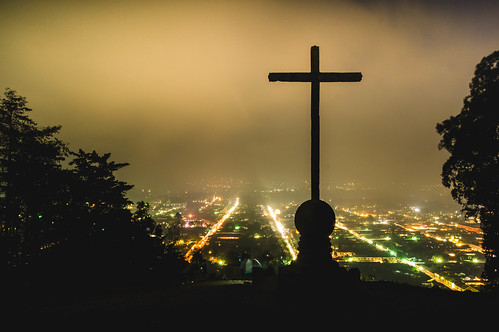 Night view of Antigua, Guatemala from