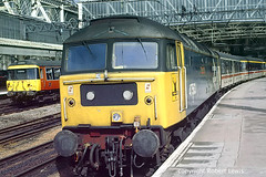 47563 waiting to leave Glasgow central for London Euston via Dumfries on the 04-09-1989 (Robert Lewis(railhereford)) Tags: 47563 47037 47831 57310