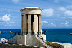 Siege Bell War Memorial, Valletta. (Keith in Exeter) Tags: siege bell valletta malta war memorial colonnaded neoclassical tower harbour sea mediterranean water sky